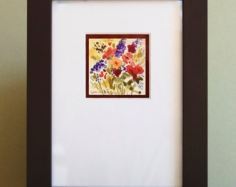 """Small Original Watercolor Painting on Clayboard """"Wild"""" by Camille Collins, in Greens and Blue, Red and Purple, Orange Floral"""
