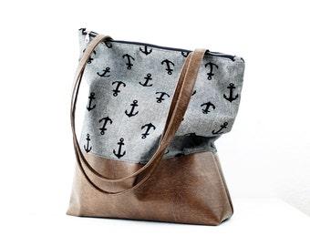 Gray anchor handbag Messenger bag