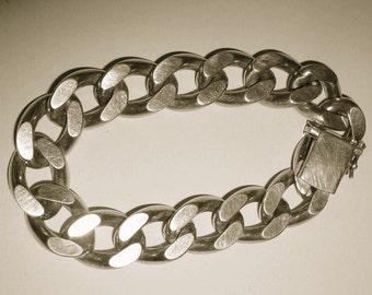 Vintage Solid Silver chain link Bracelet, heavy, 77,7 gram , Punze A*D Andreas Daub