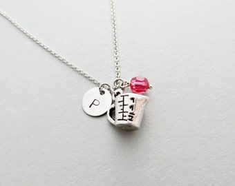 Measuring Cup Initial Necklace Personalized Hand Stamped - with Silver Measuring Cup Charm and Custom Bead
