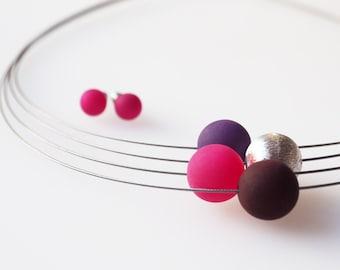 pink purple necklace berry polaris set
