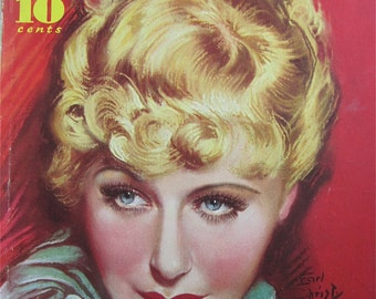 Original September 1935 Grace Moore Modern Screen Magazine Cover By Earl Christy - Hollywood's Golden Age - Free Shipping
