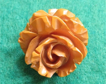 Vintage Carved Butterscotch Bakelite Rose Brooch Pin - Free Shipping
