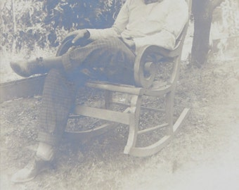 The Peaceful Gaze Of A Confident Man In Rocking Chair Real Photo Postcard - Free Shipping