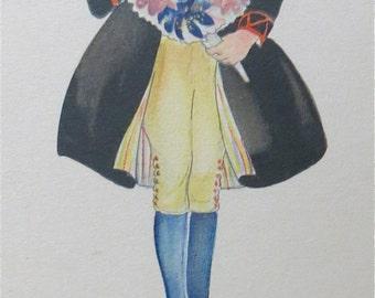Original Aina Stenberg Artist Signed Postcard - Swedish Boy With Flowers - Free Shipping