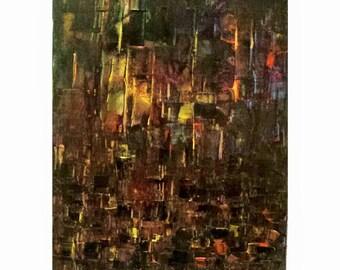 Abstract acrylic on canvas - City Night Life