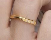 Mobius ring, 3 diamonds mobius ring,Wedding band, Engagement  mobius ring, Gold mobius ring, 9k solid gold ring,Width  2,6mm