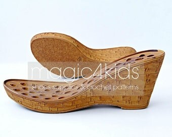 Wedges soles with insoles - high quality, soles for women shoes, women sizes, soles for crochet / felted shoes, wedge