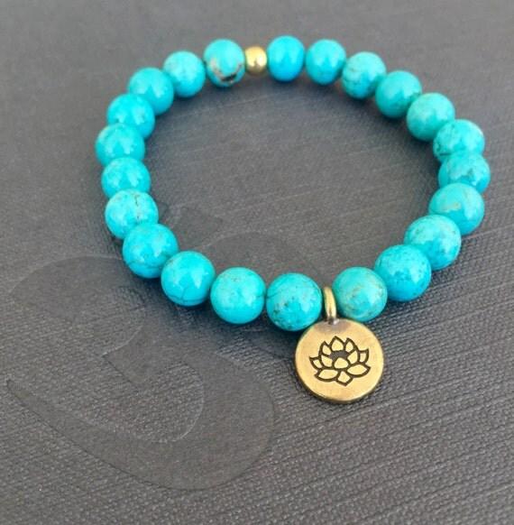 Genuine Turquoise stretch Wrist Mala, Lotus Charm Healing Beads Chakra Bracelet , Protection