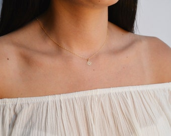 gold necklace, tiny necklace, simple necklace, tiny gold necklace,charm necklace,petite jewelry - A549