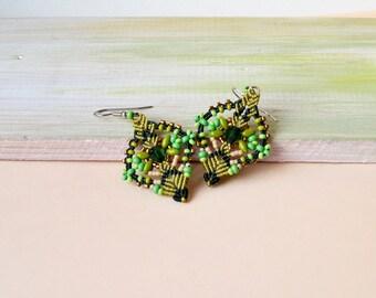 Green macrame earrings, bohemian, leaves, micro macrame jewelry, boho chic, beaded, green beige gold, beadwork, beading, everyday jewelry
