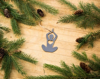 Love Yoga Lotus Pose Christmas Ornament Rustic Metal Ornament Recycled Steel Holiday Gift Industrial Decor Wedding Favor