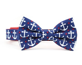 Navy Anchor Dog Bow Tie Collar Red White and Blue Nautical Coastal Dog Bowtie Collar