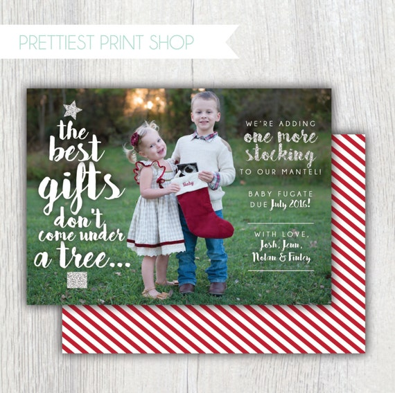 Printable Christmas Card With Photo Pregnancy Announcement