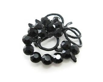Vintage Black Rhinestone Brooch, Black Enamel, Faceted Glass