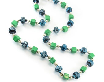 Vintage Hong Kong Bead Necklace, Green, Blue, Lucite Beads