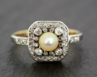 Antique Edwardian Ring - Antique Pearl & Diamond Ring - Gold and Platinum Antique Engagement Ring