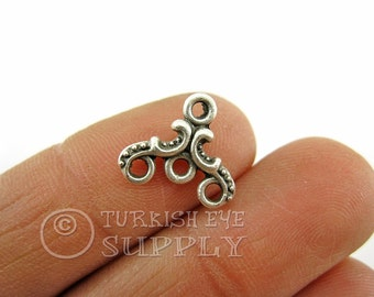 10 pc Silver Plated Mini Triangle Loop Connector, Triple Loop Necklace Connector, Multistrand Necklace Connector, Turkish Jewelry Supplies