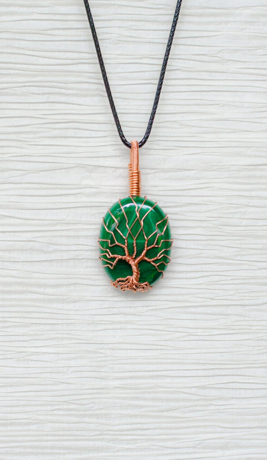 tree of wire wrapped malachite pendant by