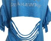 Custom Shredded Rhinestone Front & Back Seahawks Tee in Blue