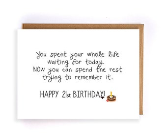 21st birthday gift for her, greeting card, gift ideas, funny greeting cards, cute handmade greeting cards for her, gift for him GC70