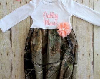 Camo Newborn Gown - Dress - Camo - Peach - Going Home Outfit - Baby Shower Gift - With Headband