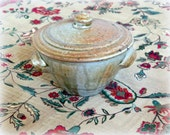 WILLEM GEBBEN. Casserole Dish. Wood Ash Glaze. Golden Speckled Brown Lid. w. Green Gray Earthy Tones. Wood-fired Traditional Stoneware Jar.