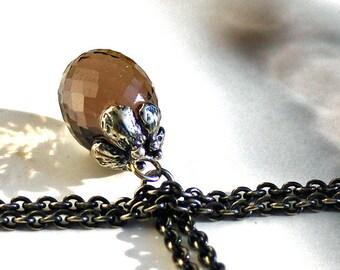 925 Silver Fantasy necklace with  Smoky Quartz