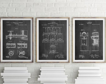 Beer Patent Posters Group of 3, Bar Art, Fraternity Gift, Drinking Gift, Brewery, Beer Wall Art, PP1148