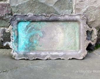 Ornate Oblong Silverplate Serving Tray, Handles, Footed, W&S Blackinton. Vintage. Rustic. Turqouise Patina, Verdigris. Artisan. Victorian.