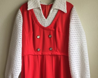 Vintage Red Double Breasted Collared Dress