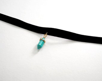 Black Choker,Turquoise necklace, Black Velvet Choker, Basic Velvet Choker,Simple Choker,choker necklace,Turquoise choker