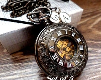 Wedding Pocket Watch Set of 5 Personalized Black Pocket Watches with Chains Groomsmen Gift Usher Best Man Wedding Groom Ships to USA/Canada