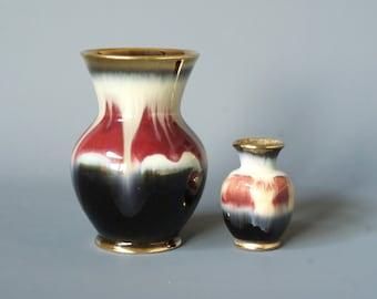 WEST GERMAN POTTERY Vases, Dümler and Breiden, 111 15 and 666, D & B, Marsala Drip Glaze, Made in Germany, German Mid Century Modern