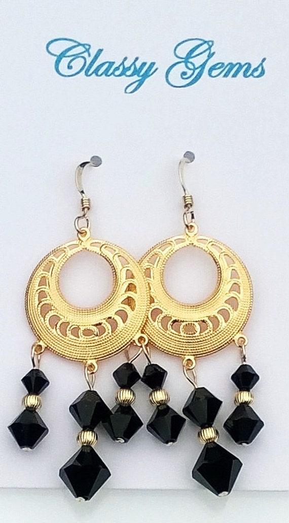 Jet Swarovski Crystal Earrings, Black Crystal Earrings, Black Earrings, Crystal Earrings