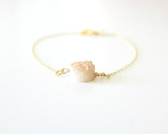 champagne bracelet - druzy bracelet - bridesmaid bracelet - bridesmaid gift - raw stone bracelet - champagne jewelry - bridal bracelet
