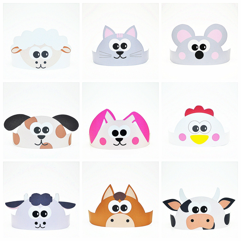 11 Farm Animals Paper Crowns Set. DIY Paper Hats Template Kit