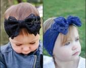 Baby headband, baby girl headband, black or navy blue lace bow headband, baby bows, black headband,