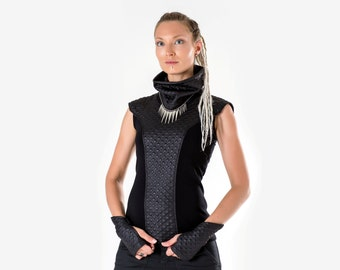 10% OFF Black woman vest turtleneck cyberpunk sleeveless top cowl neck blouse rayon jersey - BM top