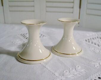 Vintage Lenox Candle Holder Set of 2 Carlton Cream Gold  Made in USA Panchosporch