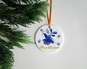 Blue Delft Ornament - Blue Bird Ornament - Merry Christmas Blue & White Tree Ornament - Cottage Chic Christmas Decor - Unique Hostess Gift