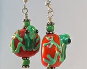 Tree Frog Earrings| Green Tree Frog Earrings| Nature Earrings| Dangle and Drop| Green Frog on Red Bead| 3 D Effect| Handmade Glass Beads|
