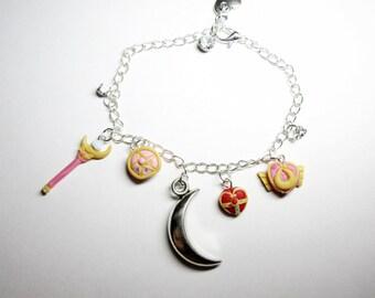 Sailor moon items inspired bracelet, polymer clay, handmade
