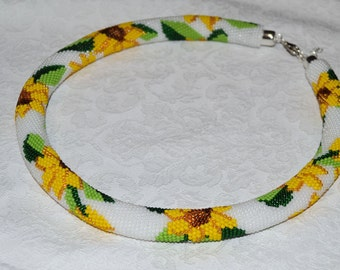 Sunflower Crochet necklace. Flowers Seed bead rope Beaded crochet rope Beaded Crochet necklace