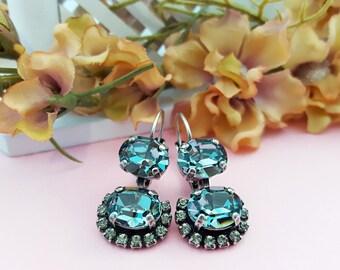 Slate Blue Earrings, Light Sapphire Earrings, Black Diamond Earrings, Blue Earrings, Grey Crystal, Silver Earring, Swarovski, E3035