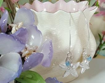 Aquamarine Starfish Earrings, Blue Starfish Earrings, White Pearls, Beach Wedding, Pale Blue Bridesmaids, Starfish Jewelry, E5309