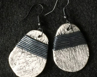 Earrings Distressed Boho Polymer Clay Metallic Industrial Jewelry Casual Dangles PLACID by ArtCirque Donna Pellegata