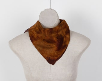 brown silk scarf /  olive brown square scarf  / Hand dyed / 100% habotai silk
