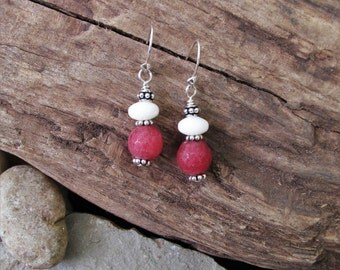 Pink Rhodonite and Natural White Coral with Sterling Silver Pierced Earrings