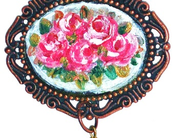 Romantic Necklace Hand Painted Rose Pendant Shabby Chic Vintage Style Necklace